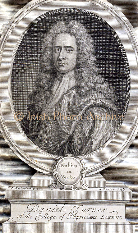 Daniel Turner (1667-1741) English physician and surgeon. A pioneer in the field of dermatology. Engraving by George Vertue for the frontispiece of Turner's 'Syphilis' (London, 1737).  A Fellow of the Royal College of Physicians and of the Royal Society whose motto 'Nullius in Verba' is at the bottom of the portrait frame.