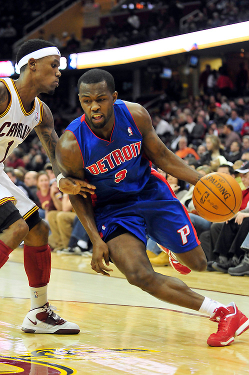 Feb. 9, 2011; Cleveland, OH, USA; Detroit Pistons point guard Rodney Stuckey (3) drives past Cleveland Cavaliers point guard Daniel Gibson (1) during the fourth quarter  at Quicken Loans Arena. The Pistons beat the Cavaliers 103-94 for Cleveland's 26th loss in a row. Mandatory Credit: Jason Miller-US PRESSWIRE