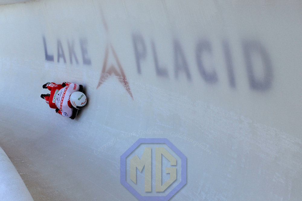 28 February 2007:  Pascal Oswald  of Switzerland slides through turn 18 the 3rd run at the Men's Skeleton World Championships competition on February 28 at the Olympic Sports Complex in Lake Placid, NY.
