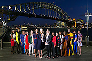Wednesday 5 August - Captain's Call at the Luna Park Welcome Function of Netball World Cup 2015 SYDNEY. <br /> Captain's Call at the Luna Park Welcome Function. L-R TTO Joelisa Cooper, JAM Nicole Aiken-Pinnock, FIJ Mere Rabuka Neiliko, SIN Qingyi Lin, RSA Maryka Holtzhausen,  ENG Geva Mentor, AUS Laura Geitz, NZL Casey Kopua, ZAM Annie Mukamba, WAL Suzy Drane, MAW<br /> Photo: Narelle Spangher (NWC2015 Media)<br /> For editorial news use only