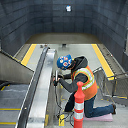 December 12, 2016 - New York, NY :  Finishing touches are taken care of underground, in the 96th Street Second Avenue subway station on Monday morning as, after years of delays, the new subway line is preparing to welcome its first straphangers. CREDIT: Karsten Moran for The New York Times
