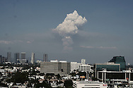 smoke plume above downtown los angeles seen from west LA