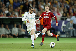 (L-R) Gareth Bale of Real Madrid, Andy Robertson of Liverpool FC during the UEFA Champions League final between Real Madrid and Liverpool on May 26, 2018 at NSC Olimpiyskiy Stadium in Kyiv, Ukraine