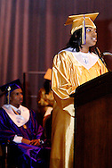 Valedictorian Ja'Ree Watkins (right) during the Thurgood Marshall High School commencement at the Dayton Masonic Center, Tuesday, May 24, 2011.