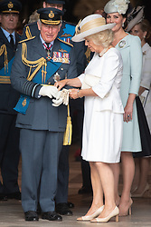 © Licensed to London News Pictures. 10/07/2018. London, UK. HRH The Prince off Wales and The Duchess of Cornwall attends a service at Westminster Abbey to make the100th anniversary of the Royal Air Force at Westminster Abbey. The RAF, the world's first independent air force was founded on 1 April 1918, independent of the British Army and Royal Navy. Photo credit: Ray Tang/LNP
