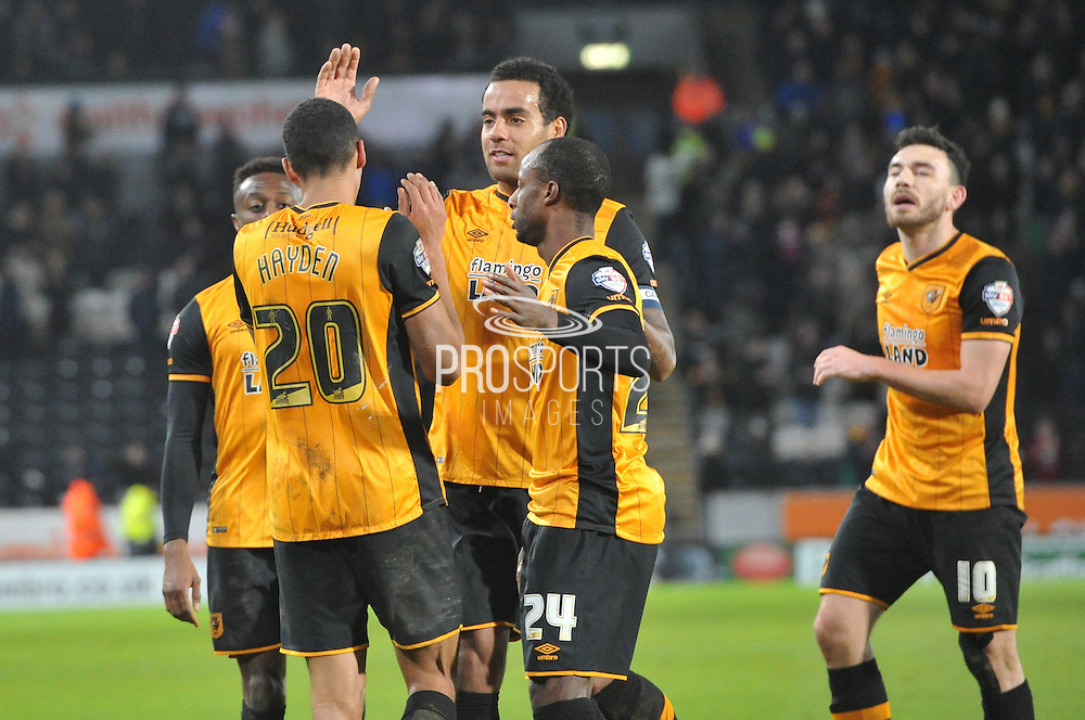Hull City celebrate Hull City defender Isaac Hayden (20) scoring to go 6-0 up during the Sky Bet Championship match between Hull City and Charlton Athletic at the KC Stadium, Kingston upon Hull, England on 16 January 2016. Photo by Ian Lyall.