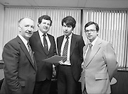 Federation Of Electronic & Informatic Industries.(N60)..1981..06.02.1981..02,06.1981..6th February 1981..The inaugural meeting of the Federation Of Electronic & Informatic Industries was held today at Confederation House, Kildare Street, Dublin..Image shows (L-R), Mr Pat Mc Sweeney,.Managing Director, Wang Laboratories (Irl) Ltd,.Caherdavin,Ennis Road Limerick,  Mr E C Johnston, Director, Federation of Electronic & Informatic Industries,  Mr Eoin O'Driscoll, Wang Laboratories (Irl) Ltd and Mr John Garrett, President and Chief Executive, Ecco Ltd, Desmesne, Dundalk who were at the meeting.
