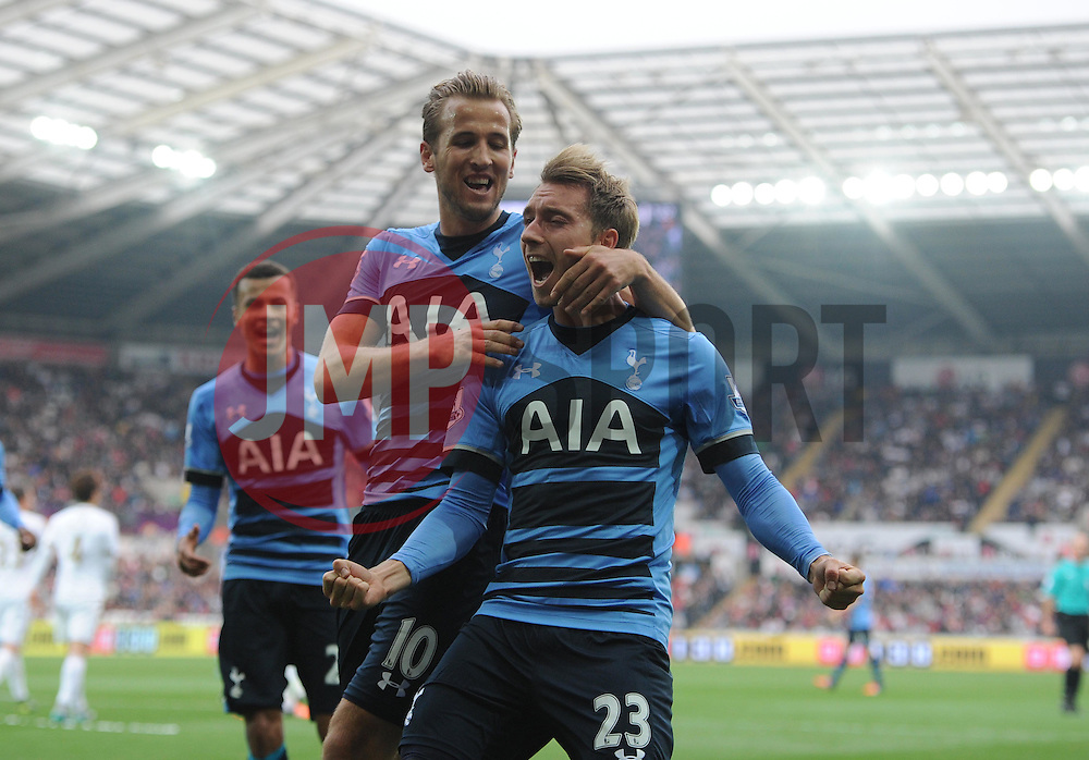 Christian Eriksen of Tottenham Hotspur celebrates his goal to make it 2-2. - Mandatory byline: Alex James/JMP - 07966 386802 - 04/10/2015 - FOOTBALL - Liberty stadium - Swansea, England - Swansea City  v Tottenham hotspur - Barclays Premier League