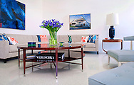 Living room of newly built Palm Springs modern home inspired by William Krisel's Mid-Century modern Butterfly design.