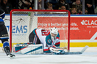 KELOWNA, CANADA - DECEMBER 30: Roman Basran #30 of the Kelowna Rockets makes a save against the Victoria Royals on December 30, 2017 at Prospera Place in Kelowna, British Columbia, Canada.  (Photo by Marissa Baecker/Shoot the Breeze)  *** Local Caption ***