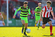 Forest Green Rovers midfielder, on loan from Birmingham City, Charlie Cooper (20) with a run during the Vanarama National League match between Lincoln City and Forest Green Rovers at Sincil Bank, Lincoln, United Kingdom on 25 March 2017. Photo by Simon Davies.