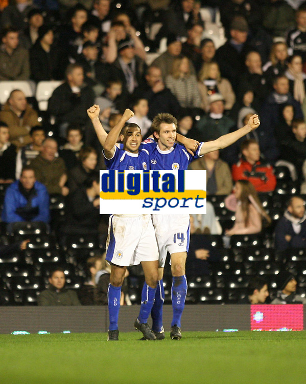 Photo: Marc Atkins.<br /> Fulham v Leicester City. The FA Cup. 17/01/2007. Gareth McAuley of Leicester City celebrates with Patrick Kisnorbo after scoring the 2nd goal for his side.