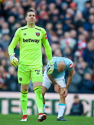 LIVERPOOL, ENGLAND - Saturday, February 24, 2018: West Ham United's goalkeeper Adrian San Miguel del Castillo looks dejected as Liverpool score the third goal during the FA Premier League match between Liverpool FC and West Ham United FC at Anfield. (Pic by David Rawcliffe/Propaganda)