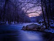 Winter dawn on the Patapsco River at Oella, Maryland.