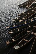 Canoas no rio São Francisco em Barra na Bahia..Canoes in the river San Francisco in Barra in Bahia.