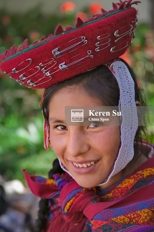 Portrait of an Indian girl, Sacred Valley, near Cuzco, Peru
