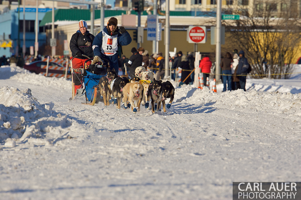 March 7th, 2009:  Anchorage, Alaska: Ryan Redington of Wasilla, Alaska at the start of the 2009 Iditarod race.