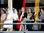 De Japanse keizer Naruhito heeft officieel de troon aanvaard en de belofte afgelegd dat hij zijn plicht als symbool van de staat zal vervullen. De 59-jarige Naruhito deed dat in een eeuwenoude ceremonie in de belangrijkste zaal van het keizerlijke paleis in Tokio in aanwezigheid van staatshoofden en gasten uit meer dan 180 landen.<br /> <br /> The Japanese emperor Naruhito has officially accepted the throne and made the promise that he will fulfill his duty as a symbol of the state. The 59-year-old Naruhito did that in an ancient ceremony in the main hall of the Imperial Palace in Tokyo in the presence of heads of state and guests from more than 180 countries.<br /> <br /> Op de foto / On the photo:  Koning Felipe VI van Spanje en Koningin Letizia // King Felipe VI of Spain and Queen Letizia