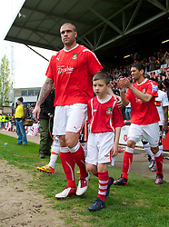 WREXHAM, WALES - Monday, May 7, 2012: Wrexham's Mark Creighton walks out to face Luton Town during the Football Conference Premier Division Promotion Play-Off 2nd Leg at the Racecourse Ground. (Pic by David Rawcliffe/Propaganda)