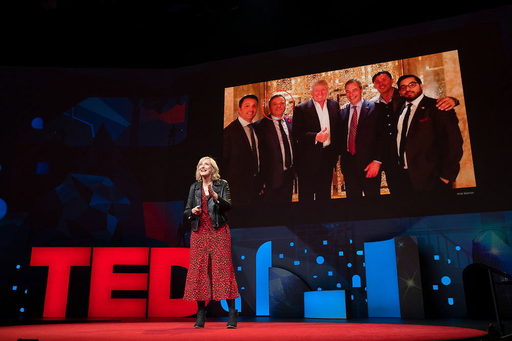 Carole Caldwalladr speaks at TED2019: Bigger Than Us. April 15 - 19, 2019, Vancouver, BC, Canada. Photo: Bret Hartman / TED