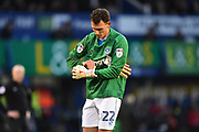 Kal Naismith (22) of Portsmouth takes over in goal after Stephen Henderson (13) of Portsmouth went off injured during the EFL Sky Bet League 1 match between Portsmouth and Doncaster Rovers at Fratton Park, Portsmouth, England on 3 February 2018. Picture by Graham Hunt.