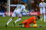 Burton Albion midfielder Marcus Myers-Harness (16) tussles with Luton Town defender James Justin (2)  during the EFL Sky Bet League 1 match between Luton Town and Burton Albion at Kenilworth Road, Luton, England on 22 December 2018.