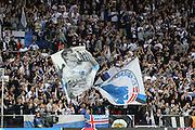 Copenhagen fans during the Champions League match between FC Copenhagen and Club Brugge at Parken Stadium, Copenhagen, Denmark on 27 September 2016. Photo by Andrew Halseid-Budd.