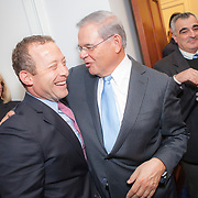 Representative Josh Gottheimer (D-NJ, 15) is greeted by Senator Menendez (D-NJ) on Wednesday January 3, 2017.  Rep. Gottheimer was officially sworn into the House of Representatives earlier in the day. John Boal photo/for The Record