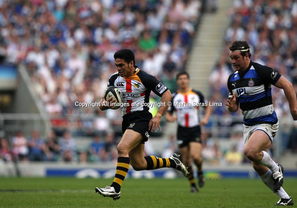 David Lemi with the ball- Guinness Premiership - London Wasps v Bath Rugby - Saturday 24 April 2010. Twickenham - London