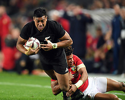 Julian Savea of New Zealand tackled by Anthony Watson of the Lions in the third International rugby test match between the the New Zealand All Blacks and British and Irish Lions at Eden Park, Auckland, New Zealand, Saturday, July 08, 2017. Credit:SNPA / Ross Setford  **NO ARCHIVING""