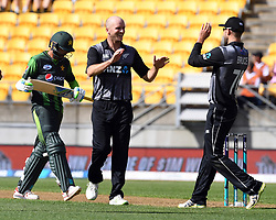 New Zealand's Seth Rance, centre after dimissing Pakistan's Mohammad Amir for 3 in the first T20 International Cricket match, Westpac Stadium, Wellington, New Zealand, Monday, January 22, 2018