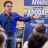 New Mexico gubernatorial candidate Jeff Apodaca makes a campaign speech at the Hilton Garden Inn in Gallup Tuesday.