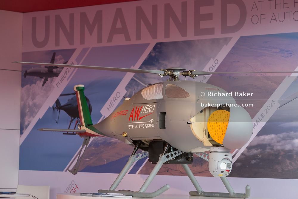 The Leonardo AWHERO exhibited at the Farnborough Airshow, on 18th July 2018, in Farnborough, England. The AWHERO is a state-of-the-art Short Range Tactical Rotary Unmanned Air Vehicle (RUAV). The AWHERO is the perfect low cost/low maintenance solution for civil, military and homeland security applications.