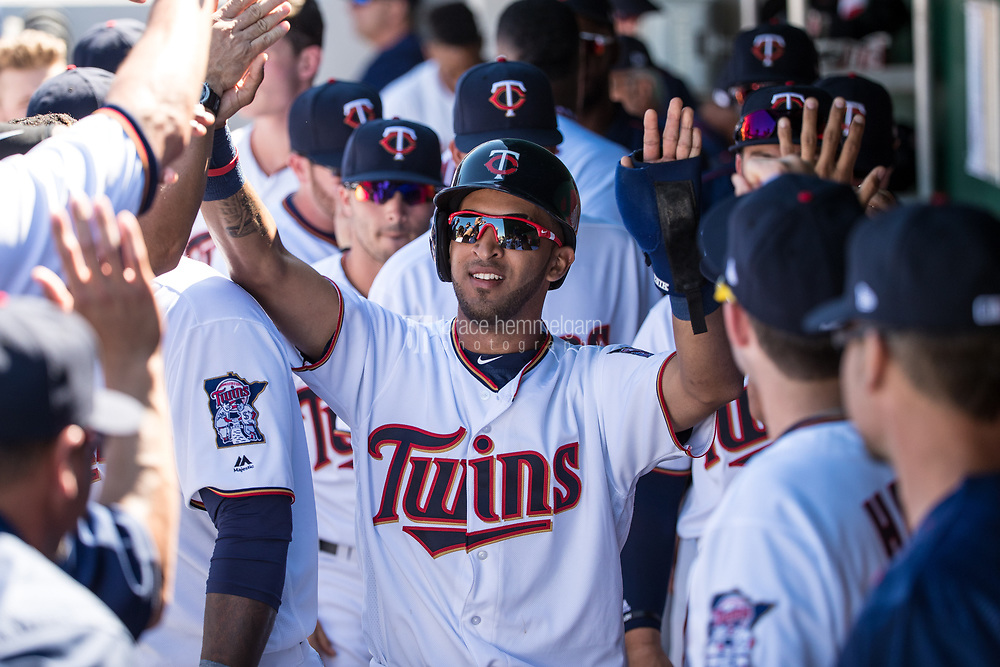 FORT MYERS, FL- FEBRUARY 26: Eddie Rosario #20 of the Minnesota Twins is congratulated by teammates against the Washington Nationals on February 26, 2017 at Hammond Stadium in Fort Myers, Florida. (Photo by Brace Hemmelgarn) *** Local Caption *** Eddie Rosario