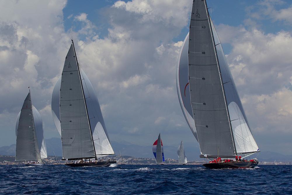 SPAIN, Palma. 22nd June 2013. Superyacht Cup. Race Four, Coastal Race. L-R, Ranger, Lionheart, Velsheda, Hanuman, Rainbow.