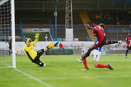 Cowdenbeath keeper Joe McGovern makes a fine save to deny Dundee&rsquo;s Glen Kamara - Cowdenbeath v Dundee in the Betfred Cup at Central Park, Cowdenbeath - Picture by David Young<br /> <br />  - &copy; David Young - www.davidyoungphoto.co.uk - email: davidyoungphoto@gmail.com