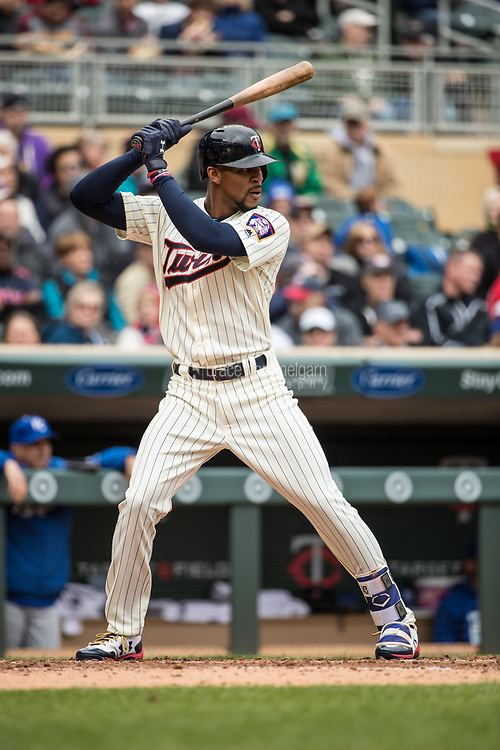 MINNEAPOLIS, MN- APRIL 5: Byron Buxton #25 of the Minnesota Twins bats against the Kansas City Royals on April 5, 2017 at Target Field in Minneapolis, Minnesota. The Twins defeated the Royals 9-1. (Photo by Brace Hemmelgarn) *** Local Caption *** Byron Buxton
