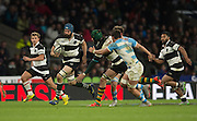 Twickenham, United Kingdom, Scott FARDY run's on after taking the pass from Victor MATFIELD, during the Killik Cup Match, Barbarians vs Argentina, RFU Stadium, Twickenham, England,<br /> <br /> Saturday    21/11/2015  <br /> <br /> [Mandatory Credit; Peter Spurrier/Intersport-images]
