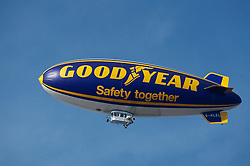 LIVERPOOL, ENGLAND - Saturday, October 1, 2011: The Goodyear blimp during the Premiership match between Liverpool and Everton at Goodison Park. (Pic by David Rawcliffe/Propaganda)