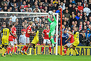 Nottingham Forest goalkeeper Jordan Smith (43) makes a save during the EFL Sky Bet Championship match between Nottingham Forest and Burton Albion at the City Ground, Nottingham, England on 21 October 2017. Photo by Jon Hobley.