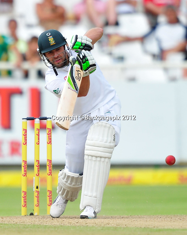 AB de Villiers of South Africa during day 2 of the Sunfoil Test Series 2014/15 game between South Africa and the West Indies at Newlands Stadium, Cape Town on 3 January 2015 ©Ryan Wilkisky/BackpagePix