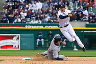 April 9, 2010:  Cleveland Indians' Austin Kearns (26) and Detroit Tigers' Adam Everett (4) during the MLB baseball game between Cleveland Indians vs Detroit Tigers at  Comerica Park in Detroit, Michigan.