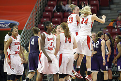 07 December 2012:  Redbirds Celebrate a win over another Big Ten team during an NCAA women's basketball game between the Northwestern Wildcats and the Illinois Sate Redbirds at Redbird Arena in Normal IL