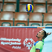 Katowice, Poland - 2017 September 03: Partner Stanislav Titov from SO Russia serves the ball while final match between SO Russia and SO Finland during European Unified Volleyball Tournament 2017 at Spodek Hall on September 03, 2017 in Katowice, Poland.<br /> <br /> Adam Nurkiewicz declares that he has no rights to the image of people at the photographs of his authorship.<br /> <br /> Picture also available in RAW (NEF) or TIFF format on special request.<br /> <br /> Any editorial, commercial or promotional use requires written permission from the author of image.<br /> <br /> Image can be used in the press when the method of use and the signature does not hurt people on the picture.<br /> <br /> Mandatory credit:<br /> Photo by &copy; Adam Nurkiewicz / Mediasport