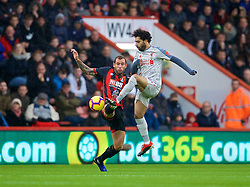 BOURNEMOUTH, ENGLAND - Saturday, December 8, 2018: AFC Bournemouth's Steve Cook (L) and Liverpool's Mohamed Salah during the FA Premier League match between AFC Bournemouth and Liverpool FC at the Vitality Stadium. (Pic by David Rawcliffe/Propaganda)