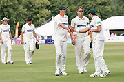 End of Day 2 Chris Wright Will Davis & Muhammad Abbas during the Specsavers County Champ Div 2 match between Gloucestershire County Cricket Club and Leicestershire County Cricket Club at the Cheltenham College Ground, Cheltenham, United Kingdom on 16 July 2019.