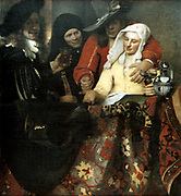 The Procuress' 1656. Oil on canvas. Jan Vermeer (1632-1675) Dutch Baroque painter. Young woman who has been procured by the female pimp, second left, holds out her hand for payment from the man groping her. Prostitution