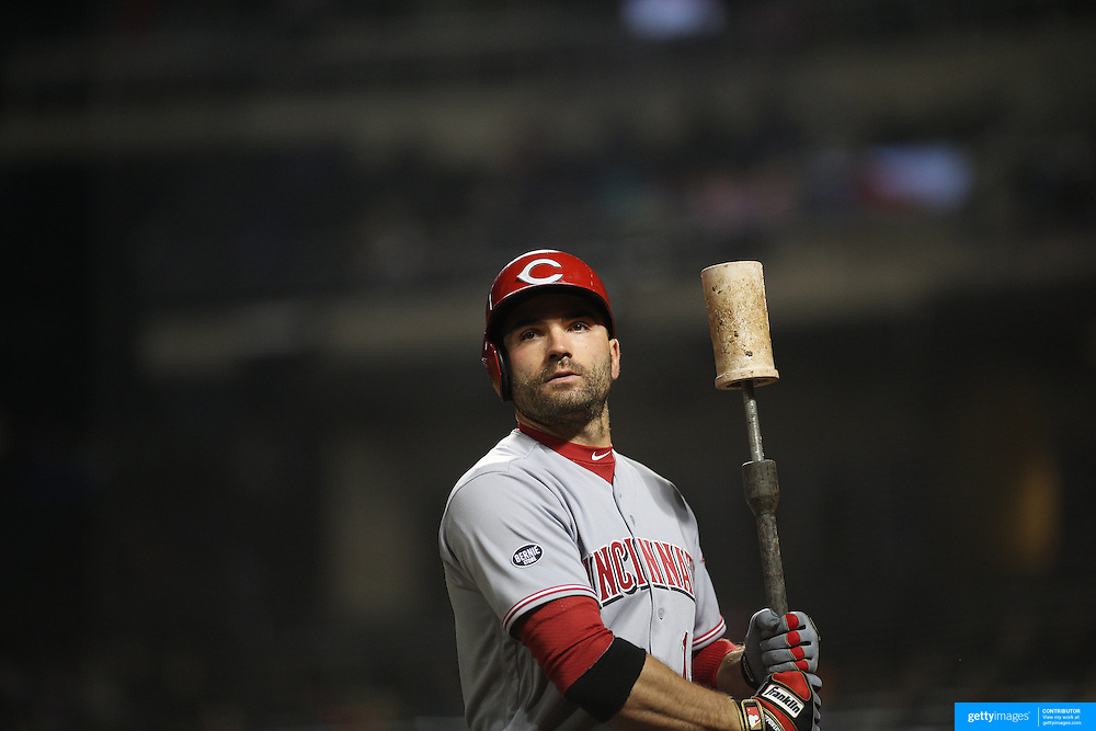 NEW YORK, NEW YORK - APRIL 26:  Joey Votto #19 of the Cincinnati Reds preparing to bat during the New York Mets Vs Cincinnati Reds MLB regular season game at Citi Field on April 26, 2016 in New York City. (Photo by Tim Clayton/Corbis via Getty Images)