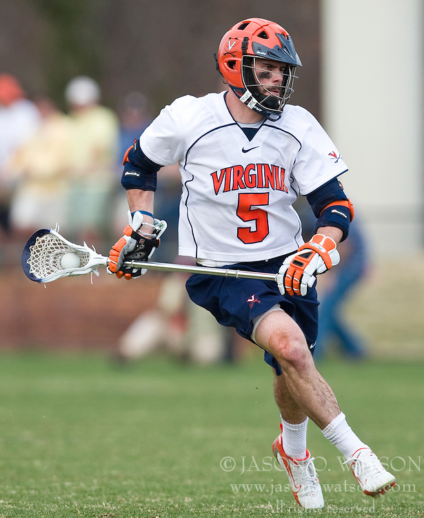 Virginia Cavaliers M/A Steve Giannone (5) in action against Cornell.  The #1 ranked Virginia Cavaliers defeated the #4 ranked Cornell Big Red 14-10 at Klockner Stadium on the Grounds of the University of Virginia in Charlottesville, VA on March 8, 2009.