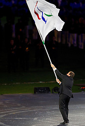 The paralympic flag is passed from the President of the IPC, Philip Craven to the Mayor of Rio de Janeiro, Eduardo Paes during the closing ceremony of the London 2012 Paralympic Games on September 9, 2012, in Olympics stadium, Stratford, London, Great Britain. (Photo by Vid Ponikvar / Sportida.com)